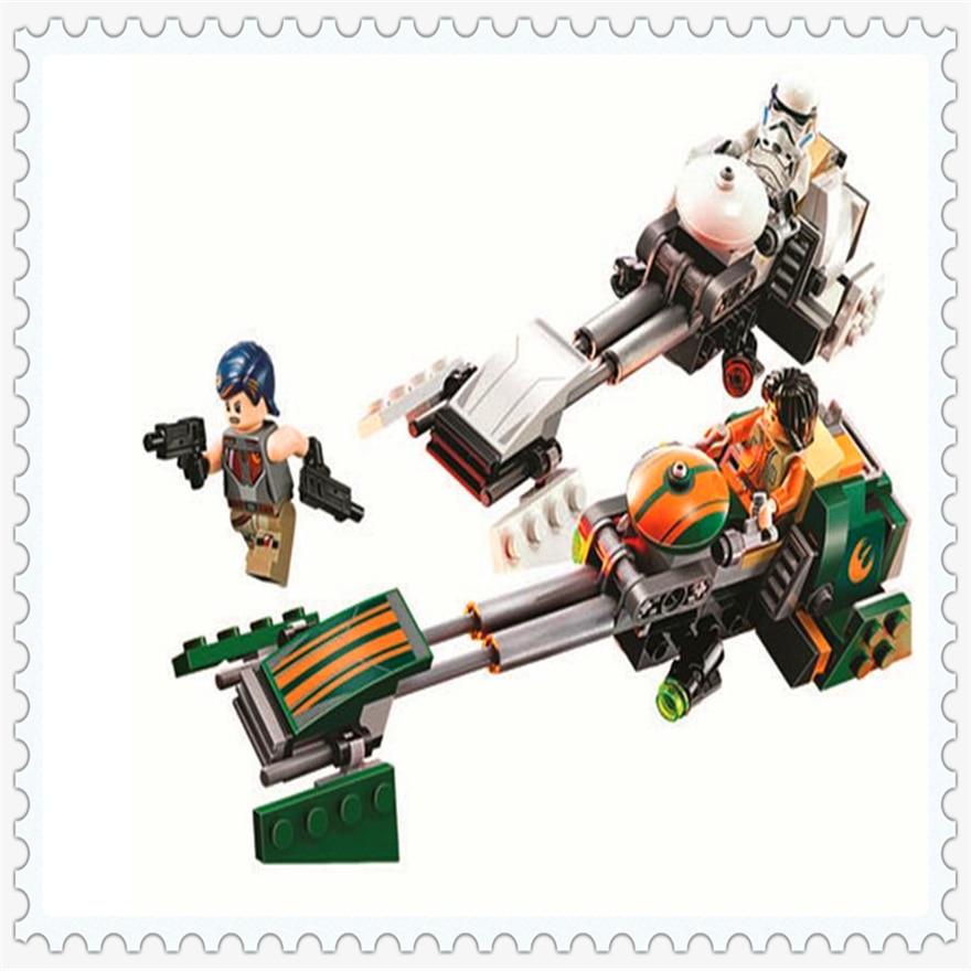 252 unids Star Wars rebeldes Ezra speeder bicicleta bloque de construcción Juguetes ilumina 10369 figura regalo para niños legoe compatible 75090