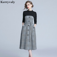 Elegant Womens Dresses New Arrival 2018 Autumn Midi Retro Office Plaid Dress Robe Femme Moulante Robe Moulante K313