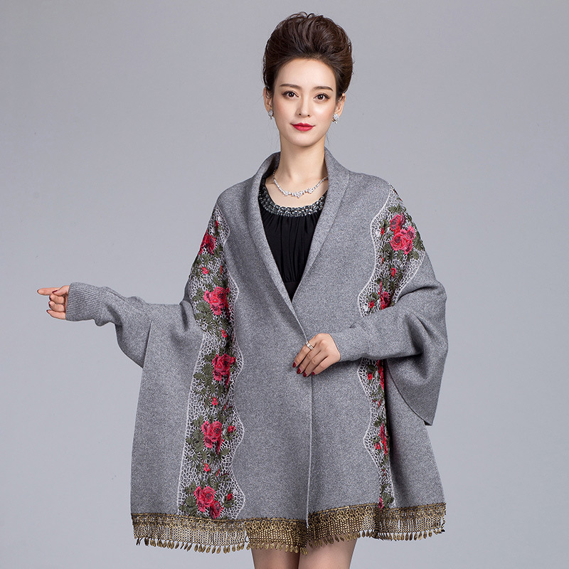 Chinese Style Women Embroidery Floral Shawls Scarf Exquisite Female Wrap Pashmina With Long Sleeve Tassels Cloak Mantilla Chal