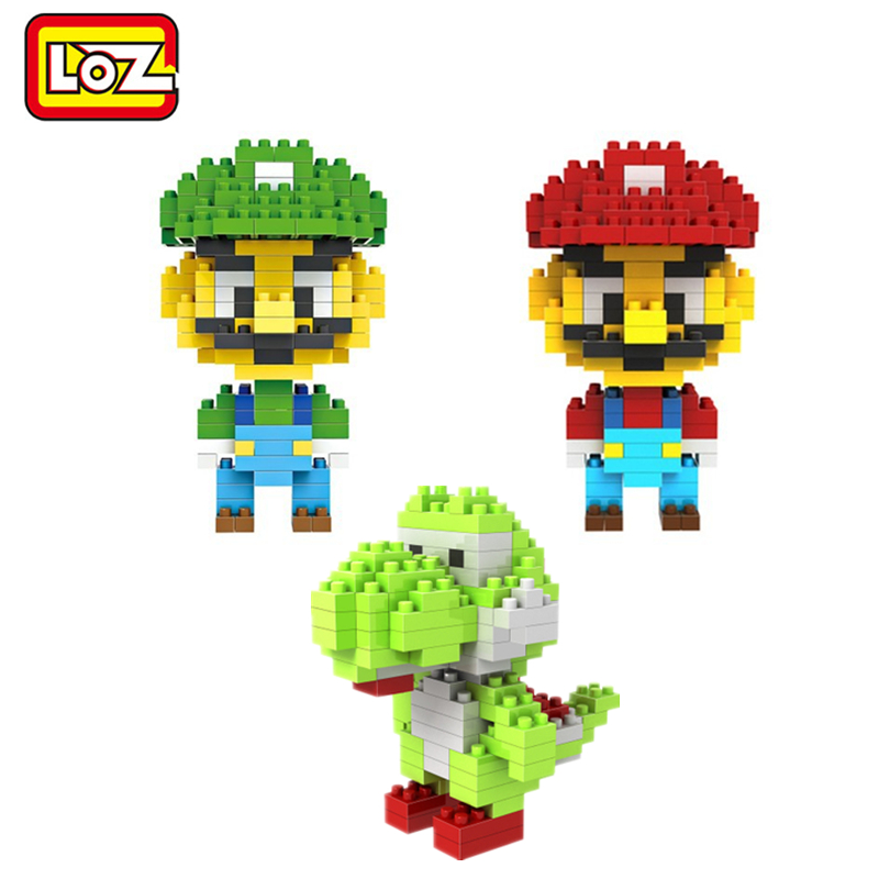 LOZ Super Mario Bros Toy Figure Model Luigi Mario Yoshi Building Blocks Game 9+ Gift Toys LOZ NEW ems shipping 12 sets cute super mario game mario luigi brothers set pvc action figure collection model dolls toy 3pcs per set