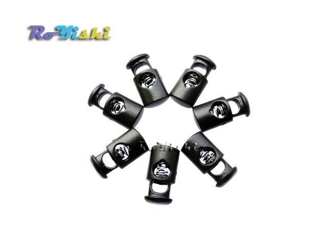 1000 pièces cordon serrure bouchon cylindre baril plastique bascule Clip pour accessoires de vêtement noir livraison gratuite