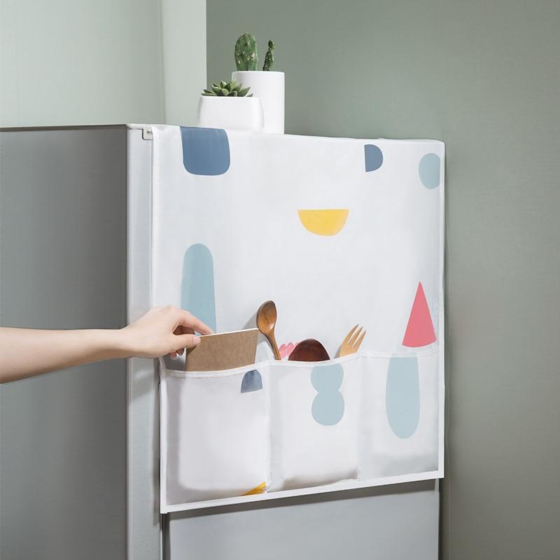 Colorful geometric broken flower refrigerator cover dust household appliance waterproof cover towel household hanging bag