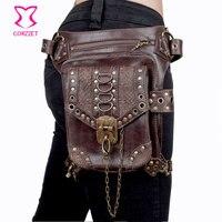 Corzzet in pelle marrone unisex steampunk retro gothic hip e fondina sacchetto della vita della coscia del raccoglitore del sacchetto crossbody accessori corsetto