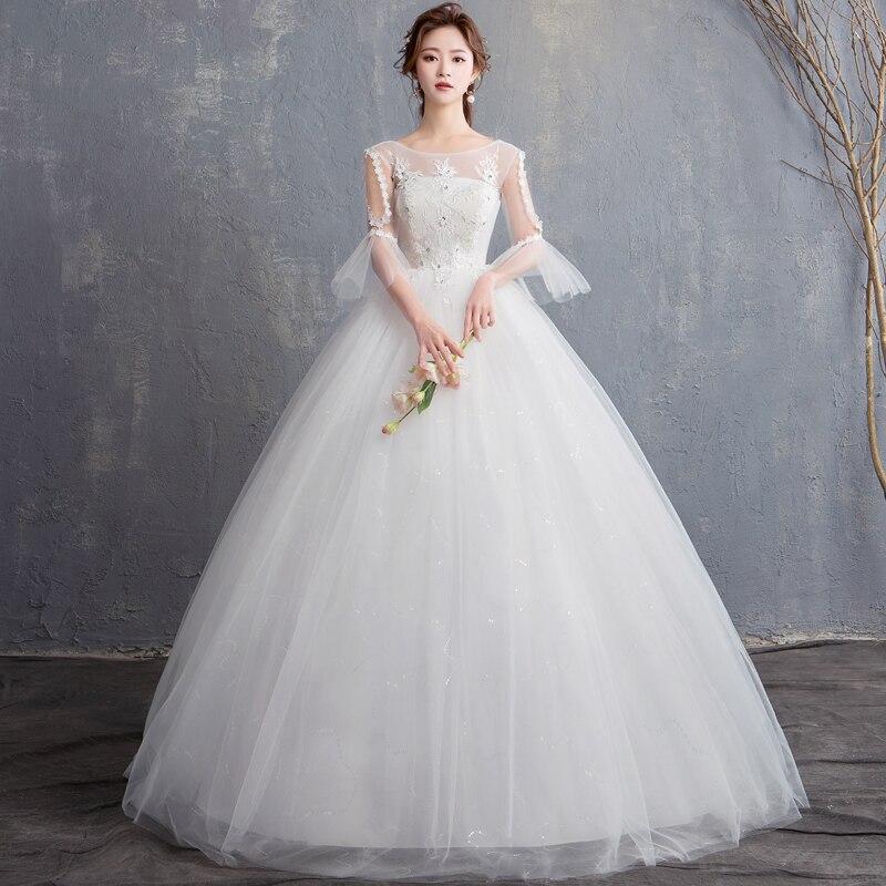 In Stock Wedding Dresses New Vestidos de novia Round neck Floor Length Lace Sequined Half Flare Sleeves Wedding Dress Gowns
