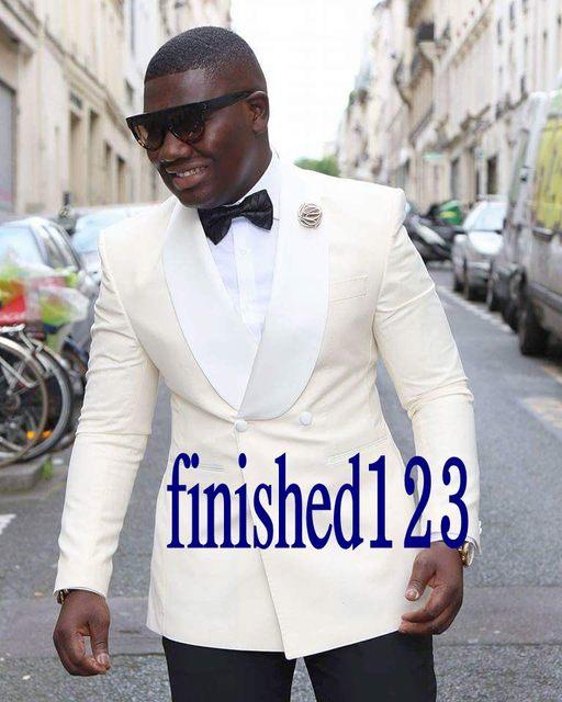 Marfil de la alta Calidad Para Hombre Del Partido de Cena Blazer Trajes de Baile Trajes de Novio Esmoquin Padrinos de Boda (Jacket + Pants + Faja + BowTie) K: 1329