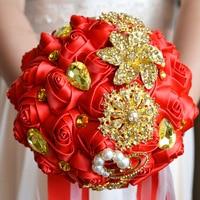 Red Flower Satin Gold Crystal Wedding Flowers Bridal Bouquets De Mariage Artificial Wedding Bouquets Bridesmaid Bouquet
