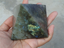 460 Natural Golden labradorite Quartz Crystal Pyramid Healing China PT1099