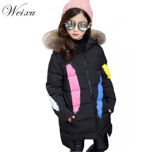 2017 Winter Jackets For Girls Green Hooded Fur Collar Parka Coat ...