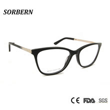 SORBERN Sexy Style Butterfly Eyeglasses Women High Quality Alloy Metal Frames Clear Lens Spectacles Myopia Optical Frame Oculos