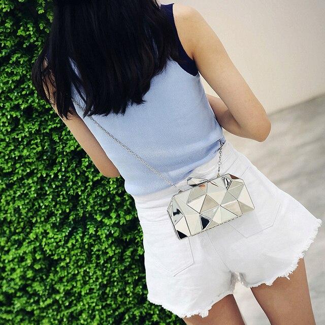 Fashion Handbags Women Metal Clutches Top Quality Hexagon Mini Party Black Evening Purse Silver Bags Gold Box Clutch 3 colors 3