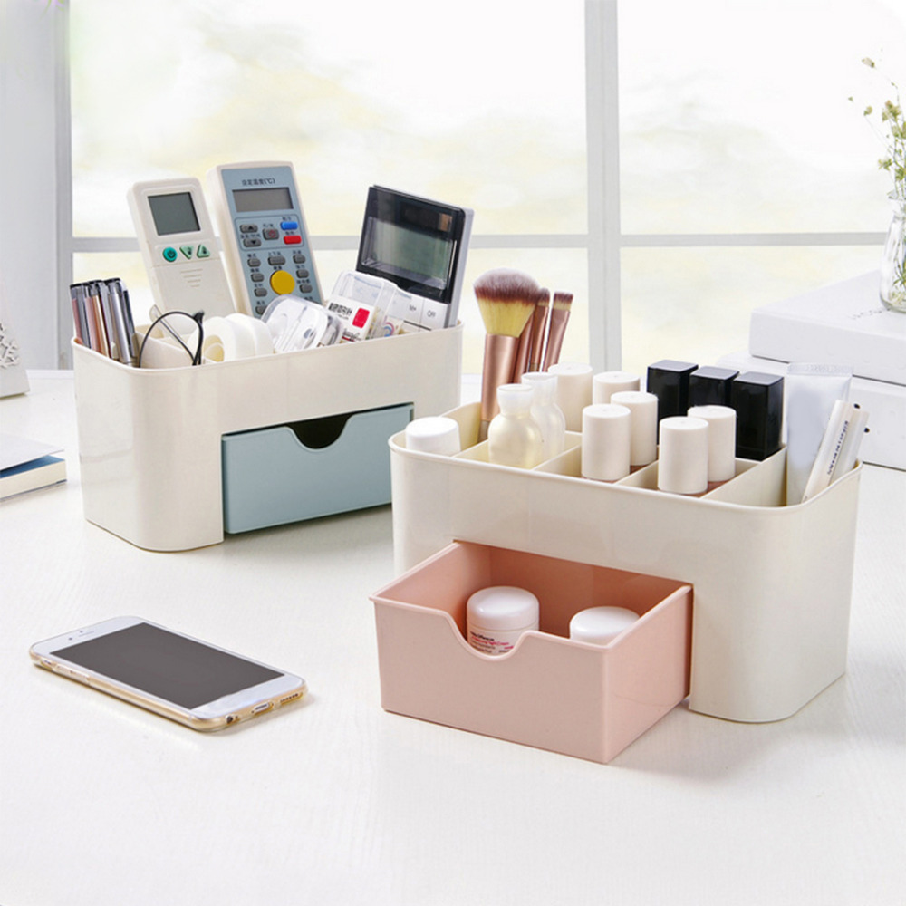 2 Colors Mini Makeup Storage Box Cosmetic Case Lipstick Sundries Cases Small Objects Box Desktop Organizer 220*110*105mm ...