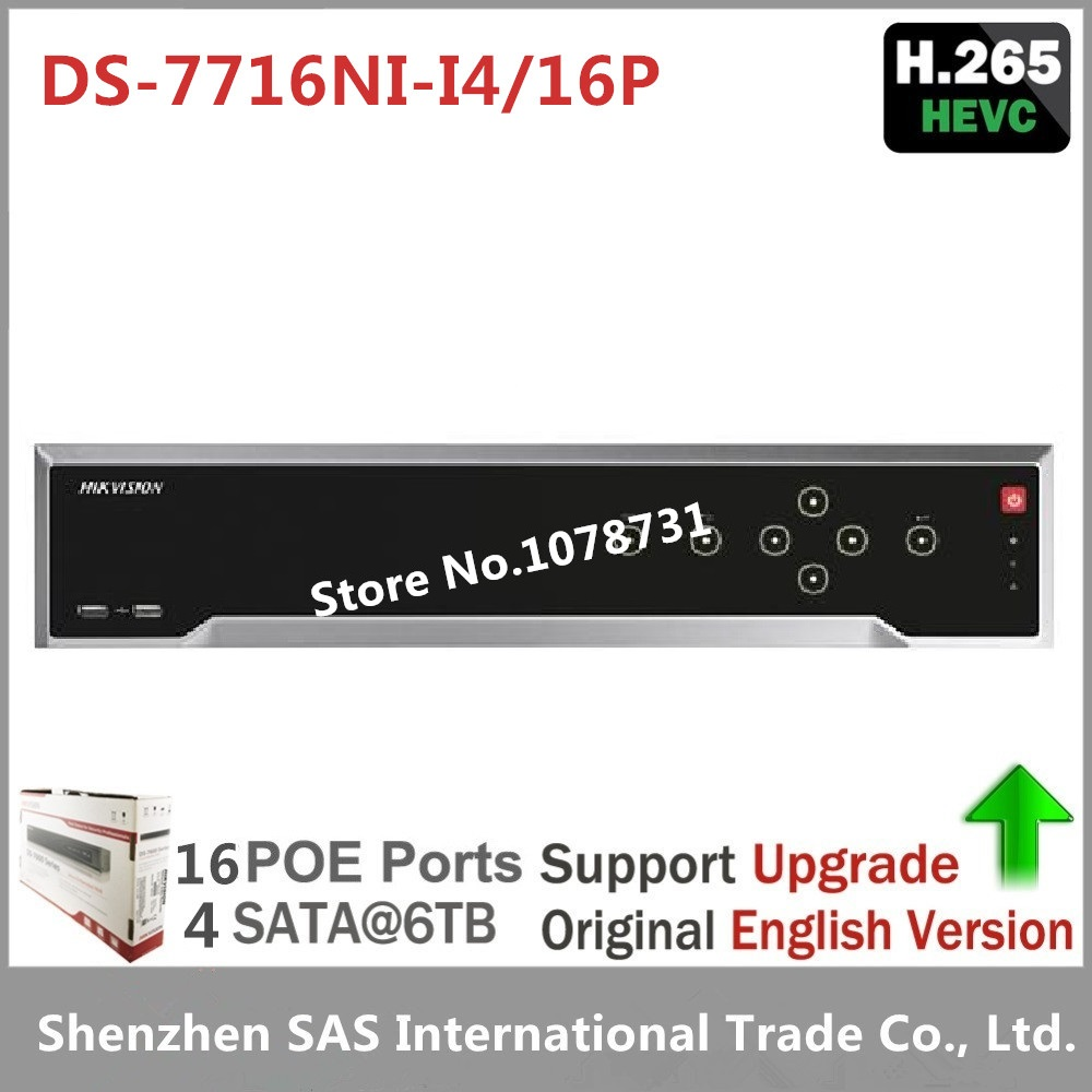 Free Shipping Hikvision Original English Version DS-7716NI-I4/16P 16CH NVR with 4SATA and 16 POE Ports Hikvision CCTV NVR 16ch 8poe nvr 7616ni se p original english version