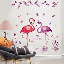 [SHIJUEHEZI] Romantic Flamingo Birds Etiqueta de La Pared Del Arte Decorativo De Pared DIY Dormitorio Decoración Mural Sticker for Living Room