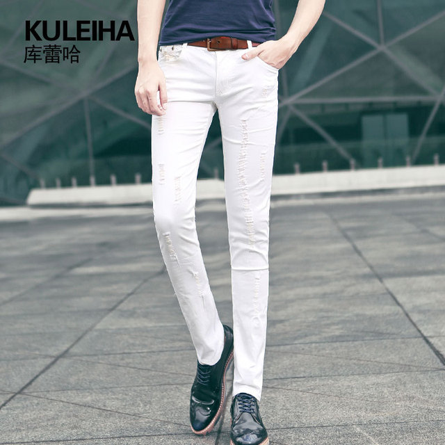 HOT 2015 summer style white ripped jeans men fashion slim famous brand hole skinny  jeans plus size denim casual pants A586 7969bd69f8a6