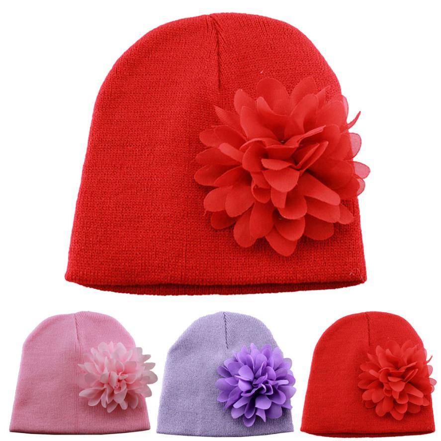 Детские muts зимние теплые Малыши младенческой для маленьких девочек шифон цветок Головн ...
