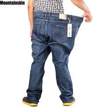 Mountainskin New Men's Full Length Retro Jeans Solid Casual Denim Pants Straight Fitness Men Jeans Plus Sizes Brand Jeans,JA460
