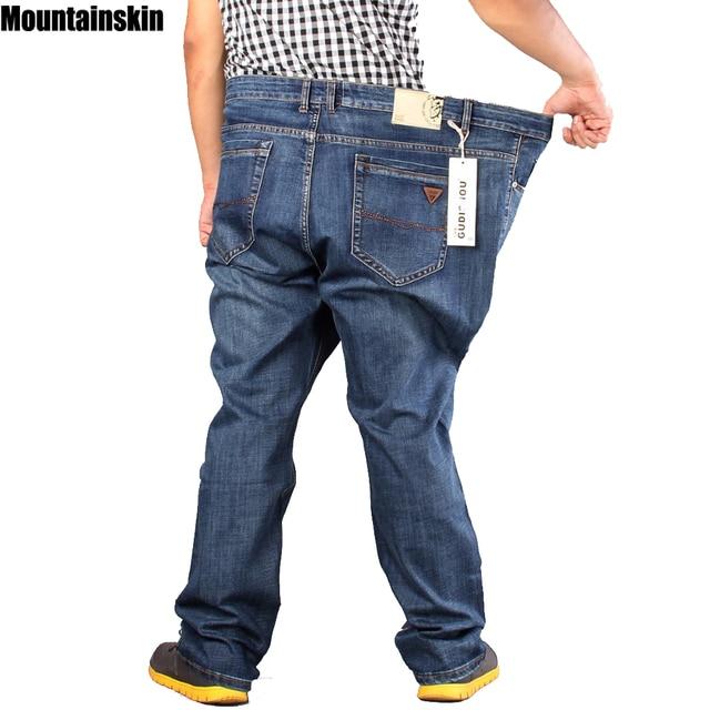 03892daffe Mountainskin Nuevos hombres Encuadre de cuerpo entero Jeans Retro Solid  Casual Denim Pantalones de Fitness Rectas