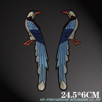 Long Tailed Magpie Embroidery Patches For Clothes High Grade Leather Clothing Decoration Patches Fashion DIY Military