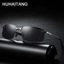 HUHAITANG Square Polarized Sunglasses Men Luxury Brand Rimless