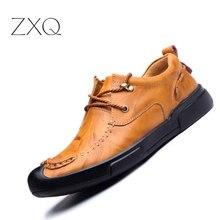 Мужская обувь ручной работы Корова Разделение кожа новый осень 2017 г. городской Для мужчин Повседневное обувь удобные туфли-оксфорды для мужчин