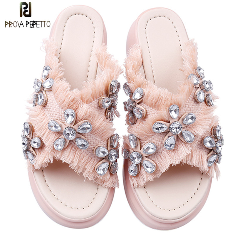 Prova Perfetto 2018 Bohemian Crystal Wedges Slippers Women Sweet Mid Heels Slipper Summer Rhinestone Platform Muffin Shoes Woman