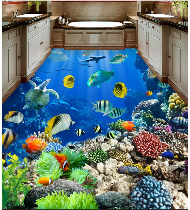 3d flooring waterproof wall paper bathroom custom photo pvc sticker sea fish world decoration painting wallpaper for walls 3d 3 d pvc flooring custom wall paper marine reef fish in the sea world 3d bathroom flooring 3d wall mural wallpaper