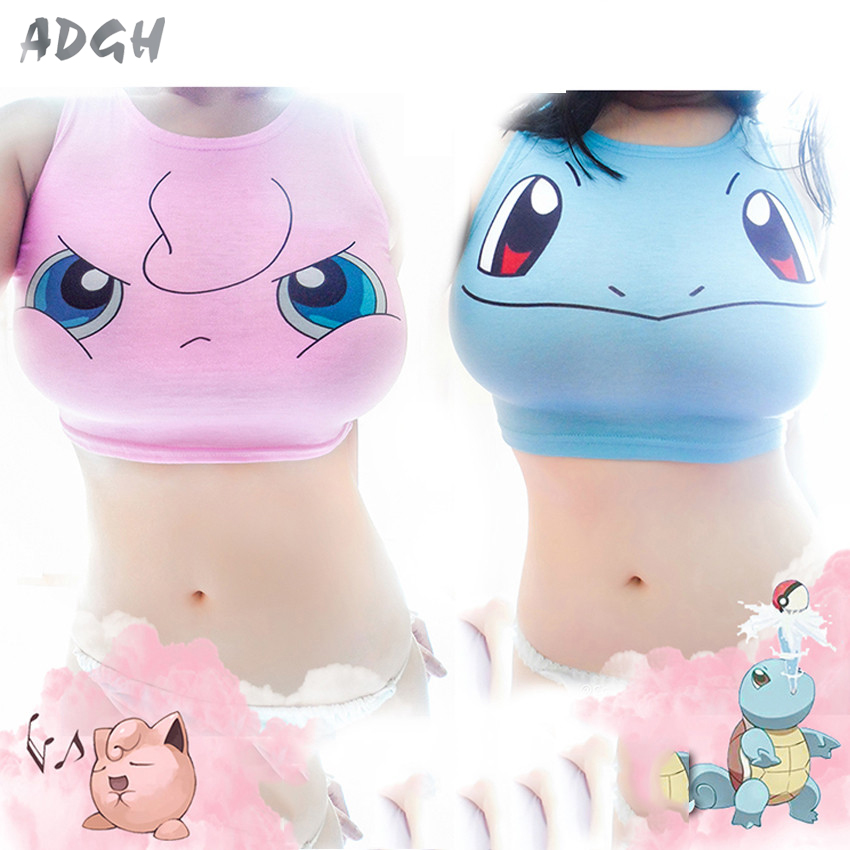 Pokemon Crop Top Donne Camis Pikachu Squirtle Bulbasaur Stampa Canotte Harajuku Giapponese Gioco Anime 3D Sleeveless Tee Maglia