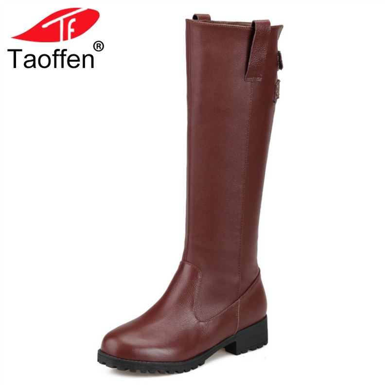 TAOFFEN Size 34-43 Women Boots Round Toe Zipper Real Leather Mid Calf Women Winter Shoes Simple Fashion Woman Footwear taoffen size 30 52 russia women round toe height increasing mid calf boots woman cross strap warm fur winter half shoes footwear