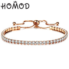 Dropship Fashion Cubic Zirconia Tennis Bracelet & Bangle Adjustable Pulseras Mujer Charm Bracelet For Women Bridal Wedding Gifts(China)