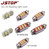 JSTOP 7piece/set A1 A4 led Car reading lights led 36mm 41mm canbus bulbs BA9s T4W c5w 12VAC festoon Trunk lights reading lamps