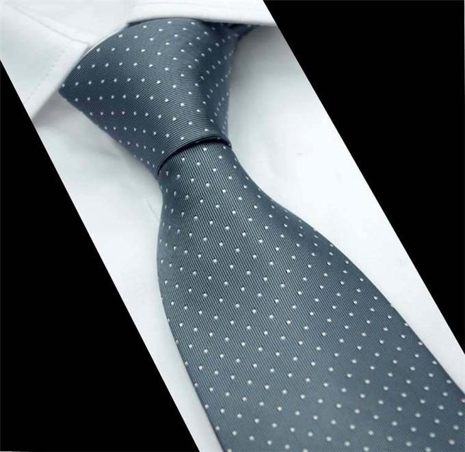 SCST Brand Cravate 2019 New Corbatas Wedding Necktie 8cm Slim Neckties White Dot Print Grey Silk Ties For Men Tie Gravata CR044