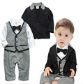 newborn baby boy Long sleeve bow tie romper clothes+black Jackets suit Clothing Sets bebe toddler Birthday party clothing DY087A