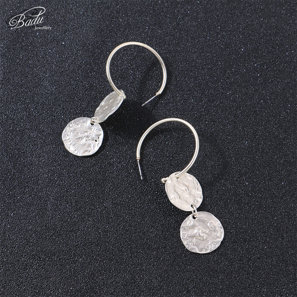 Badu Hoop Earring Women Vintage Hammered Metallic Earrings Punk Style Fashion Jewelry Champagne Color Wholesale