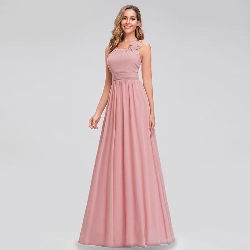 Pink Bridesmaid Dresses Ever Pretty EB07660PK O-Neck Flower Shoulder Elegant Chiffon Dresses For Weddings Party Vestido Madrinha