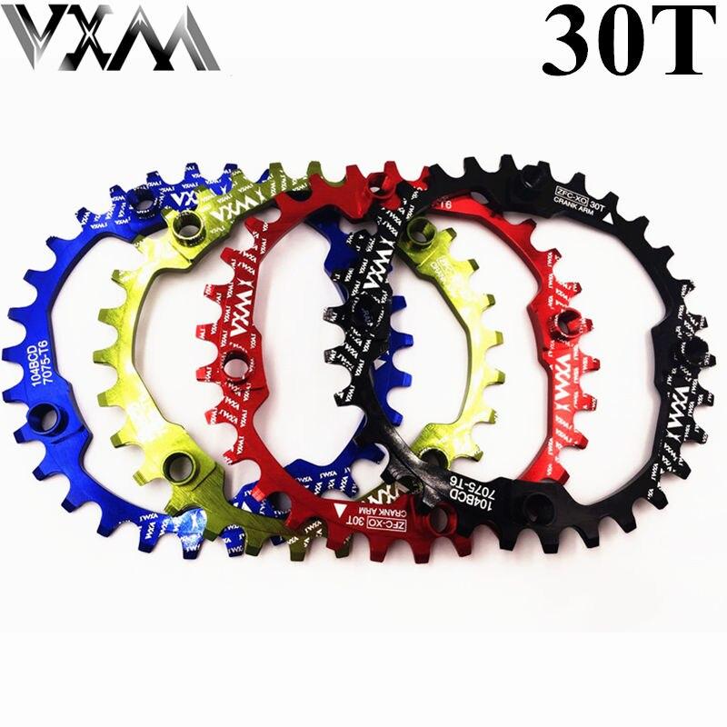 VXM Bicycle Crank 104BCD Cycling Round 30T Chainring Narrow Wide Ultralight 7075-T6 MTB Bike Chainwheel Circle Crankset Plate