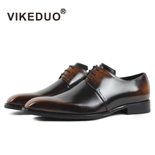 VIKEDUO Vintage Dress Shoes For Men 2019 Solid Genuine Leather Wedding Office Business Formal Derby Shoe Male Handmade Zapatos