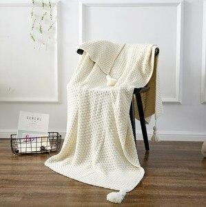 Image 1 - CAMMITEVER Baumwolle Decke Winter Warme Heimgebrauch Decken für Erwachsene Europäischen Gehäkelte Decke für Bett Sofa Werfen Teppich