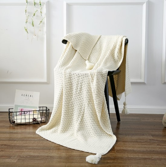 CAMMITEVER Cotton Blanket Winter Warm Home Use Blankets for Adults European Crocheted Blanket for Bed Sofa Throw Rug-in Blankets from Home & Garden