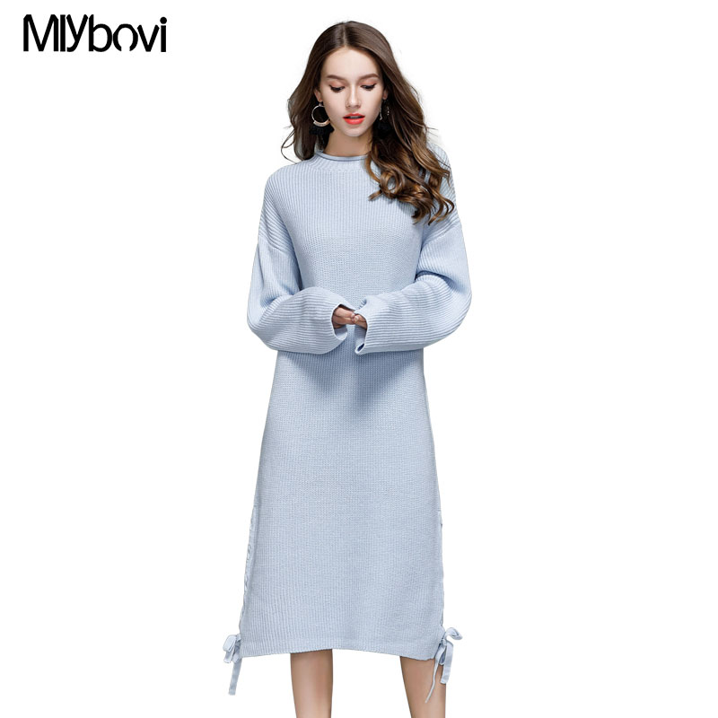 Mlybovi women long sleeve casual knitted dress sweater autumn and winter Black/White/Beige round collar Pullovers sweaters