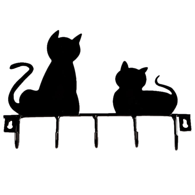 Fashion Black cat design Metal Iron Wall Door Mounted Rustic Clothes Coat hat key hanging Decorative Wall Hooks Robe Hanger