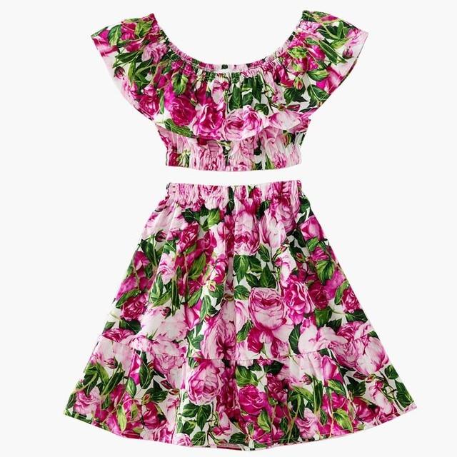 c4a5ba7d1f52 GOOPORSON Girls Fashion Clothes Set 2Pcs Rose Print Girls Ruffles ...