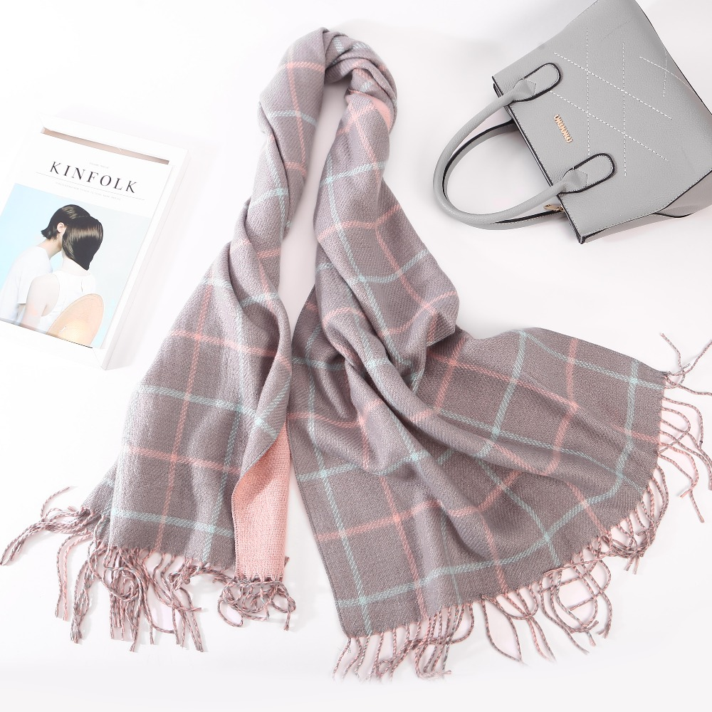 High Quality Fashion Plaid Scarf Women Tassels Scarf Double Side Thick Warm Winter Scarves Long Size Female Cashmere Scarves