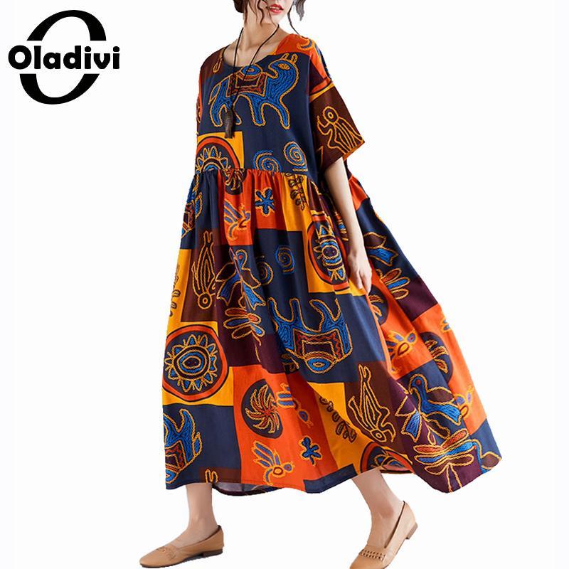 3c057c1e47d1 Oladivi Vestido de gran tamaño para mujeres de talla grande de algodón  Casual de lino Maxi Vestido ...