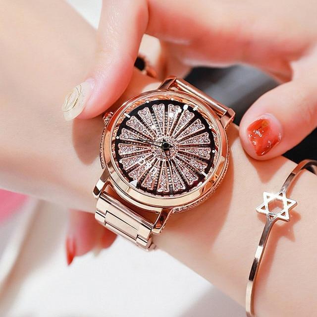 Женские кварцевые часы, вращающиеся по супер технологии, со стразами, из нержавеющей стали