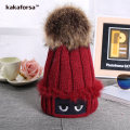 New Women Winter Hats Fashion Girls Warm Acrylic Eyes Beanies with Fur Pompoms High Quality Knitted Solid Caps for Ladies