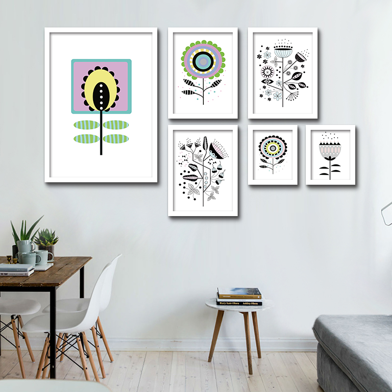 modern minimalist black white plant sunflower flower photo a4 big art prints poster wall picture canvas