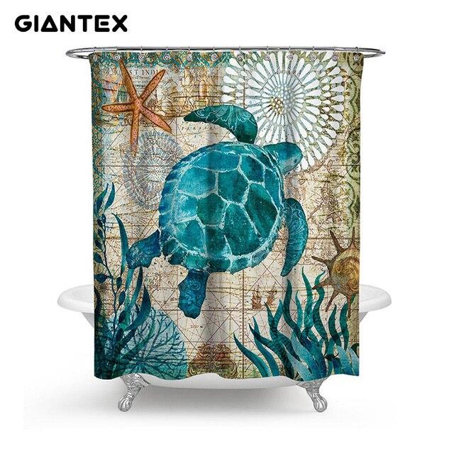 GIANTEX Marine Animale Tenda Della Stanza Da Bagno Impermeabile Tende da Doccia