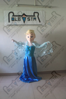 Wig Blue Dress Princess Mascot Costumes Hot Sale Yarn Dress Costume