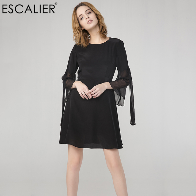 ESCALIER Women 100% Silk Dresses Advanced Sexy Puff Sleeve Streamers Elegant Silk Little Black Dress