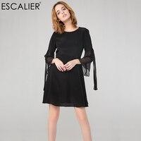 ESCALIER Women 100% Silk Dresses Advanced Sexy Puff Sleeve Streamers Elegant Silk Little Black Dress